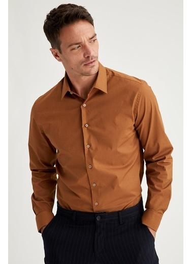 DeFacto Uzun Kollu Slim Fit Pamuklu Gömlek Sarı